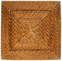 ChargeIt! By Jay Harvest Square Rattan Charger Plate