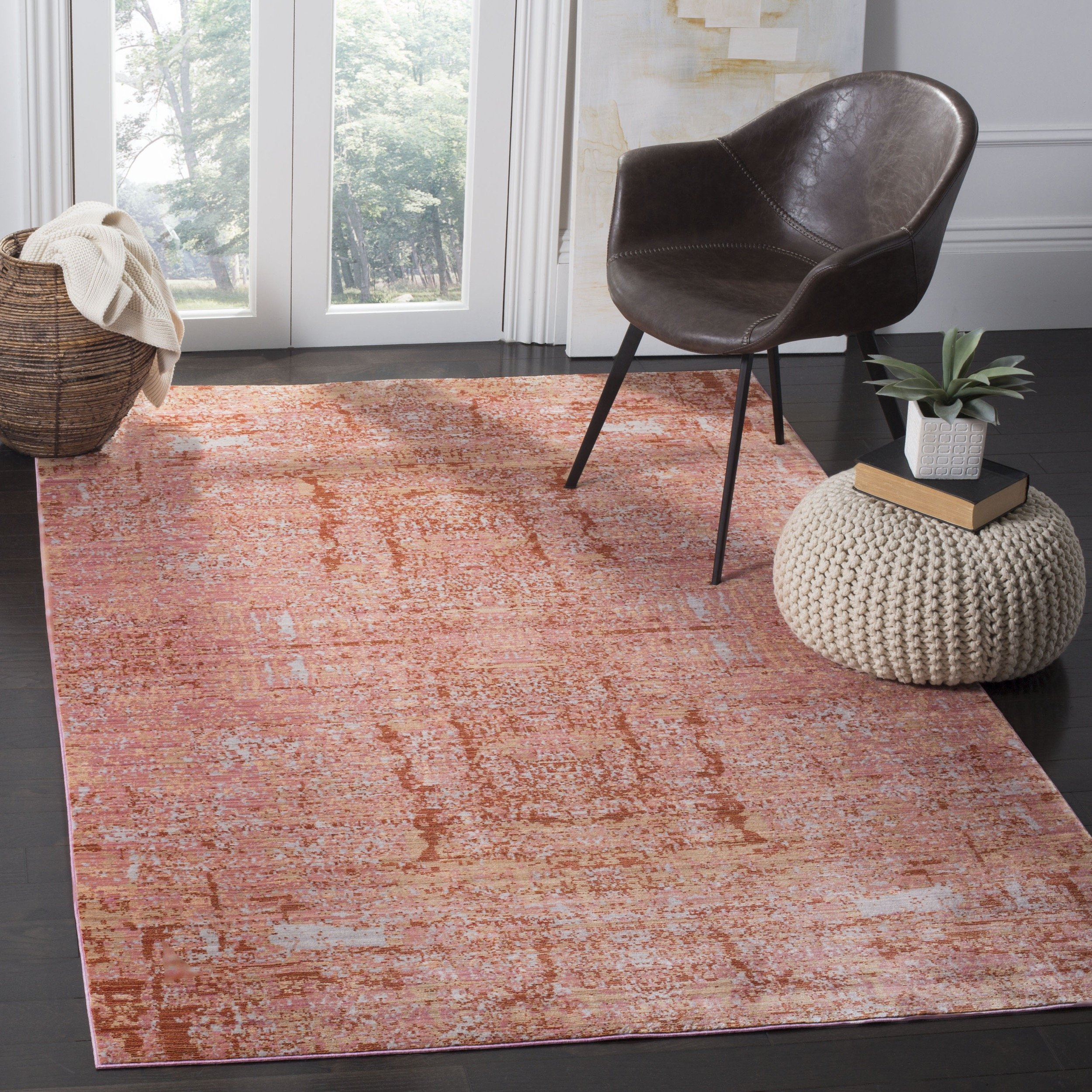 Safavieh Mystique Collection MYS971B Vintage Watercolor Rose and Multi Distressed Area Rug (3' x 5')
