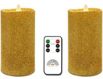 """Gift Package 2 Pieces Gold Flameless Candles (D 3"""" x H 6"""") Flickering Flame Effect, LED Pillar Candles Battery Operated Real Wax with Timer Function and Remote"""
