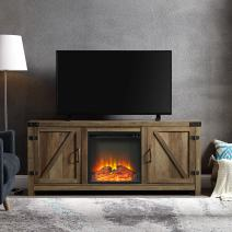 """WE Furniture Farmhouse Barn Wood Fireplace Stand for TV's up to 64"""" Flat Screen Living Room Storage Cabinet Doors and Shelves Entertainment Center, 58 Inch, Reclaimed Barnwood"""