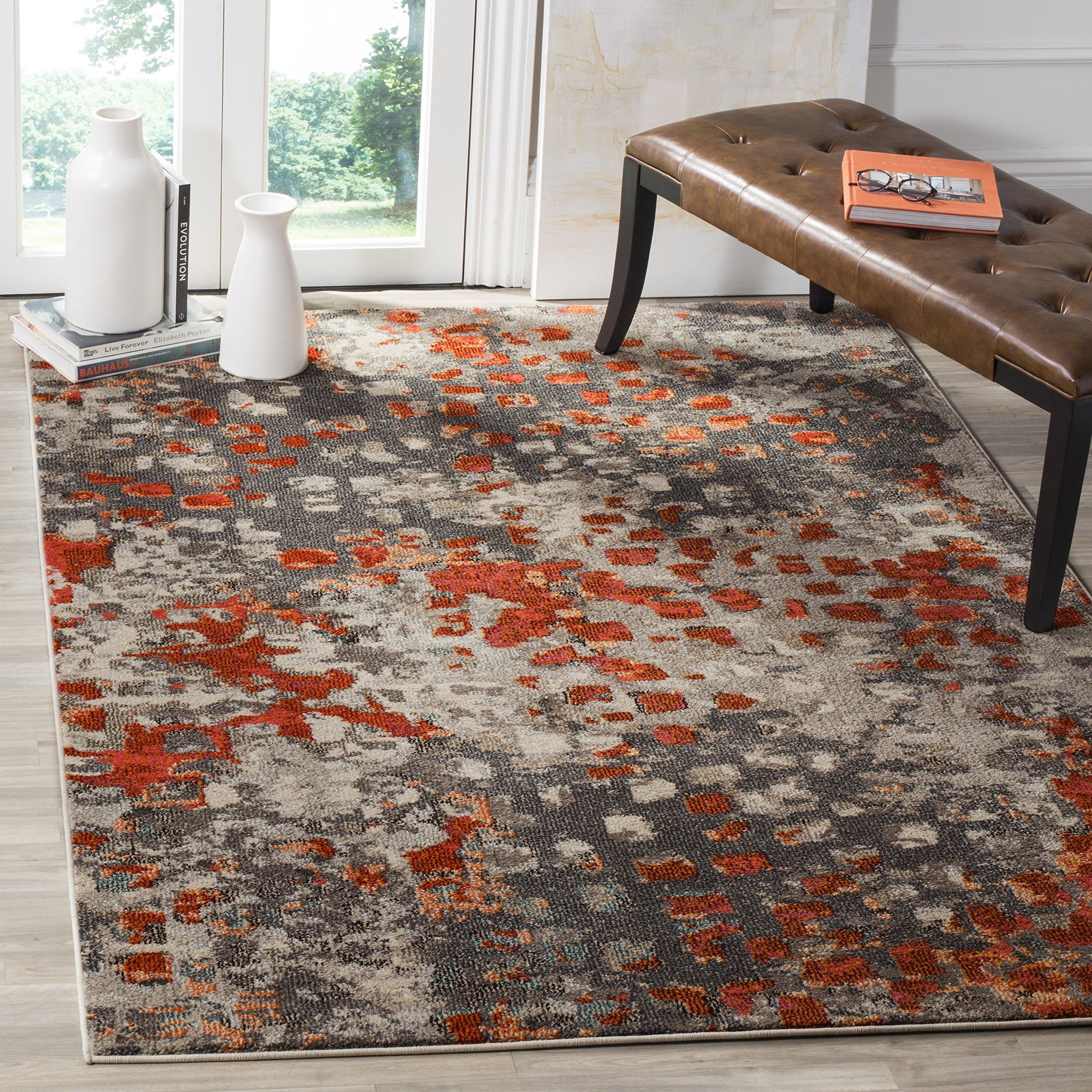 "Safavieh Monaco Collection MNC225H Modern Boho Abstract Watercolor Area Rug, 5' 1"" x 7' 7"", Grey/Orange"
