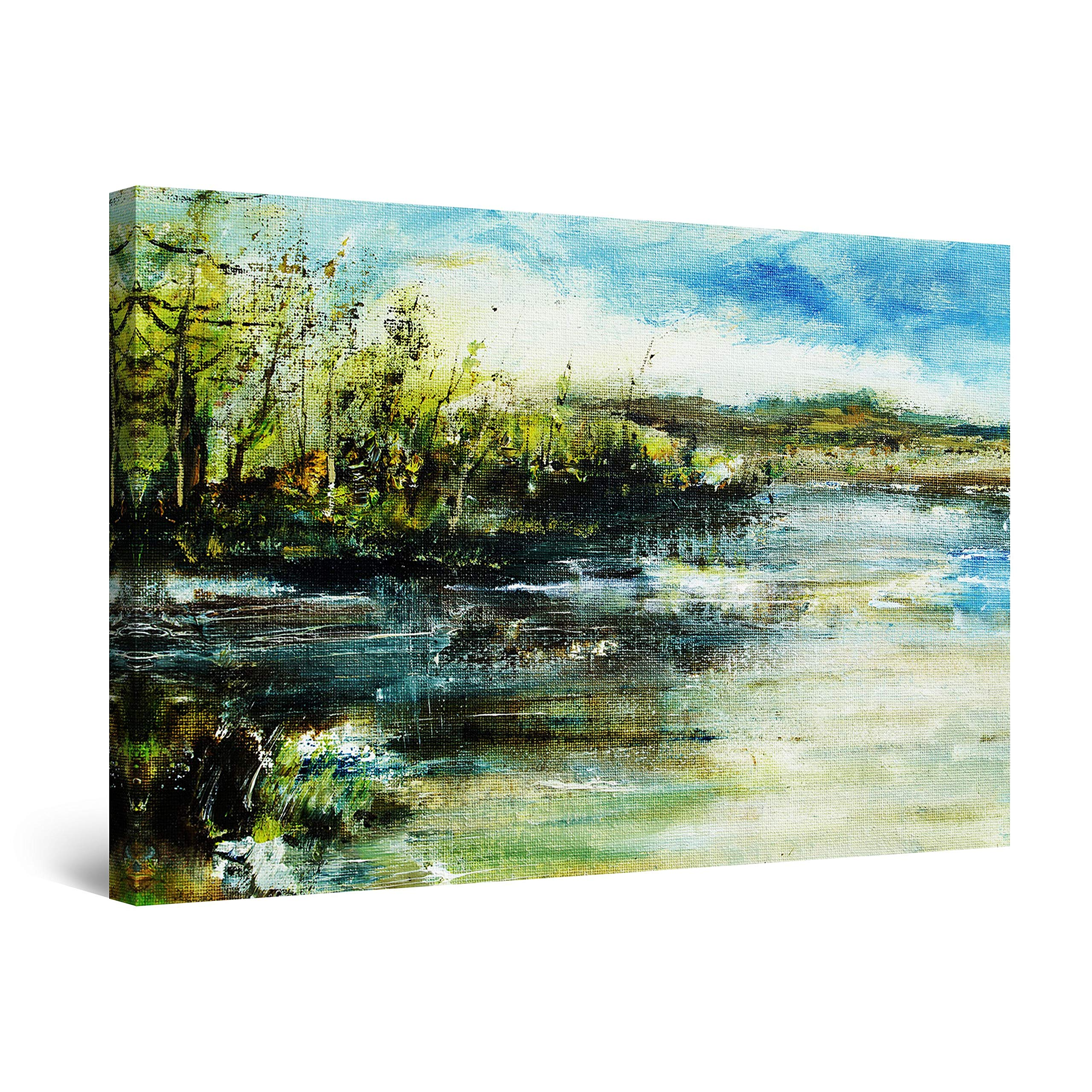 """Startonight Canvas Wall Art Classic Landscape Trees on The Shore Green Painting, Framed 24"""" x 36"""""""