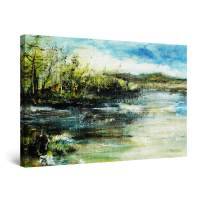 "Startonight Canvas Wall Art Classic Landscape Trees on The Shore Green Painting, Framed 24"" x 36"""
