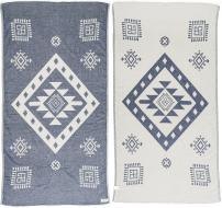 Bersuse 100% Cotton Veracrus Dual-Layer Handloom Turkish Towel-37X70 Inches, Dark Blue