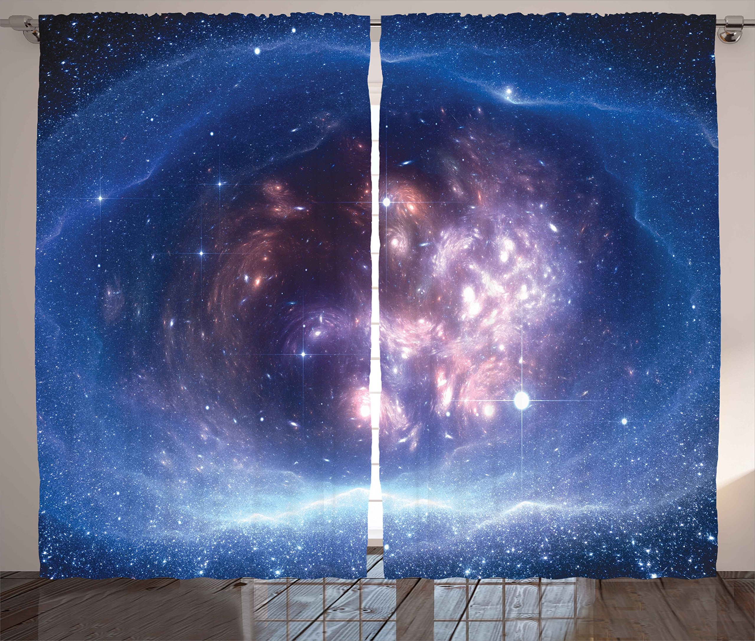 """Ambesonne Outer Space Curtains, Outer Space Nebula Gas Cloud and Star Clusters Universe Cosmos Astronomy Art, Living Room Bedroom Window Drapes 2 Panel Set, 108"""" X 90"""", Purple Navy"""