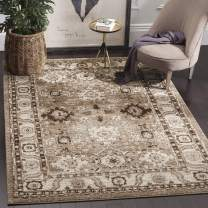 "Safavieh Vintage Hamadan Collection VTH214T Traditional Oriental Antiqued Persian Area Rug, 5' 3"" Square, Taupe"