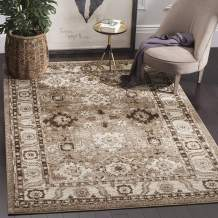 """Safavieh Vintage Hamadan Collection VTH214T Traditional Oriental Antiqued Persian Area Rug, 5' 3"""" Square, Taupe"""