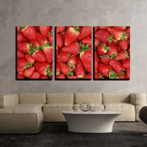 """wall26-3 Piece Canvas Wall Art - Collection of Freshly Harvested Strawberries Forming a Background with Copy Space - Modern Home Decor Stretched and Framed Ready to Hang - 24""""x36""""x3 Panels"""