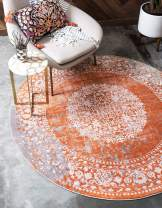 Unique Loom New Classical Collection Traditional Distressed Vintage Classic Terracotta Round Rug (6' 0 x 6' 0)