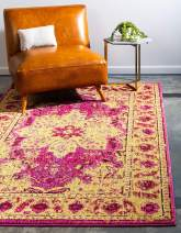 Unique Loom Medici Collection Floral Distressed Traditional Pink Area Rug (7' 0 x 10' 0)