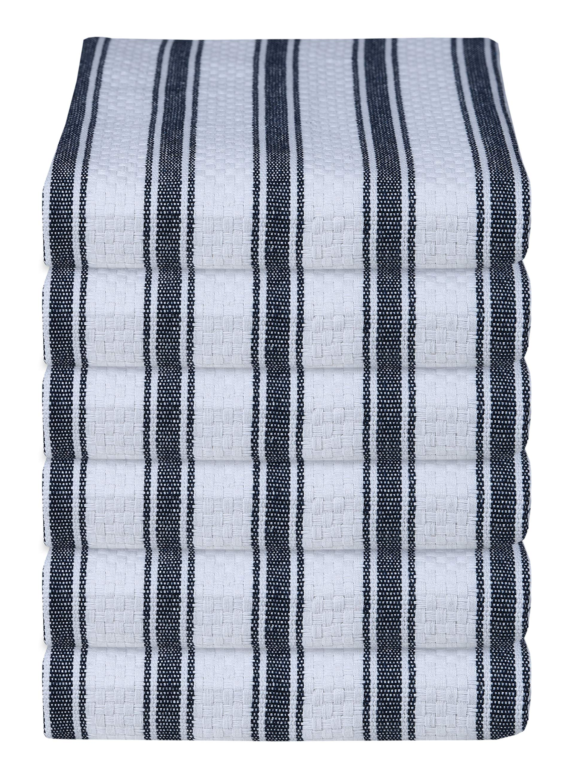 GLAMBURG 100% Cotton Kitchen Towels and Dish Cloth Sets, 6 Pack 18x28 Basket Weave Stripe Dish Towels, Tea Towels, Bar Towels, Cleaning Towels, Highly Absorbent Dishcloth, Kitchen Towel Set Navy Blue