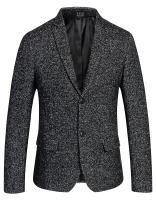 SSLR Men's Stylish Two Button Blazer Casual Wool Suit Jacket