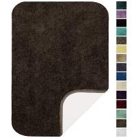 """Maples Rugs ColorSoft Non Slip Washable & Quick Dry Soft Bathroom Rugs [Made in USA], 17"""" x 24"""", Chocolate Nib"""