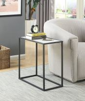 Convenience Concepts Gold Coast Faux Marble Chairside Table, Faux Marble / Black