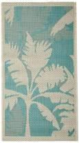 "Couristan Monaco Coastal Flora Indoor/Outdoor Machine Made Area Rug, 2' x 3'7"", Ivory/Turquoise"