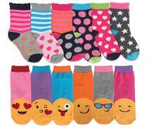 Jefferies Socks Girls Fashion Emojis Hearts Stripes Pattern Variety Crew Socks 12 Pair Pack