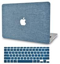 "KECC Laptop Case for Old MacBook Pro 13"" Retina (-2015) w/Keyboard Cover Plastic Hard Shell Case A1502/A1425 2 in 1 Bundle (Blue Fabric)"