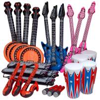 Kicko Rock Band Instrument Inflate Assortment - 24 Pack - Cool and Fun Inflatable Musical Instruments for Kids - Party Favor, Party Bag Stuffer, Novelty Toys