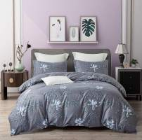 VIVILINEN Duvet Cover Set Feast of Flowers Fade Resistant Bedding Linen Set Ultra Soft 3-Pieces for Christmas New Year Birthday Wedding Gift,Blue (King)