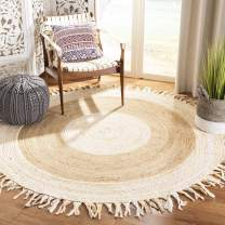 Safavieh Cape Cod Collection CAP701B Hand-Woven Area Rug, 5' x 5' Round, Beige/Natural