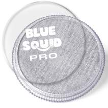 Blue Squid PRO Face Paint - Metallic Silver (30gm), Superior Quality Professional Water Based Single Cake, Face & Body Makeup Supplies for Adults, Kids & SFX