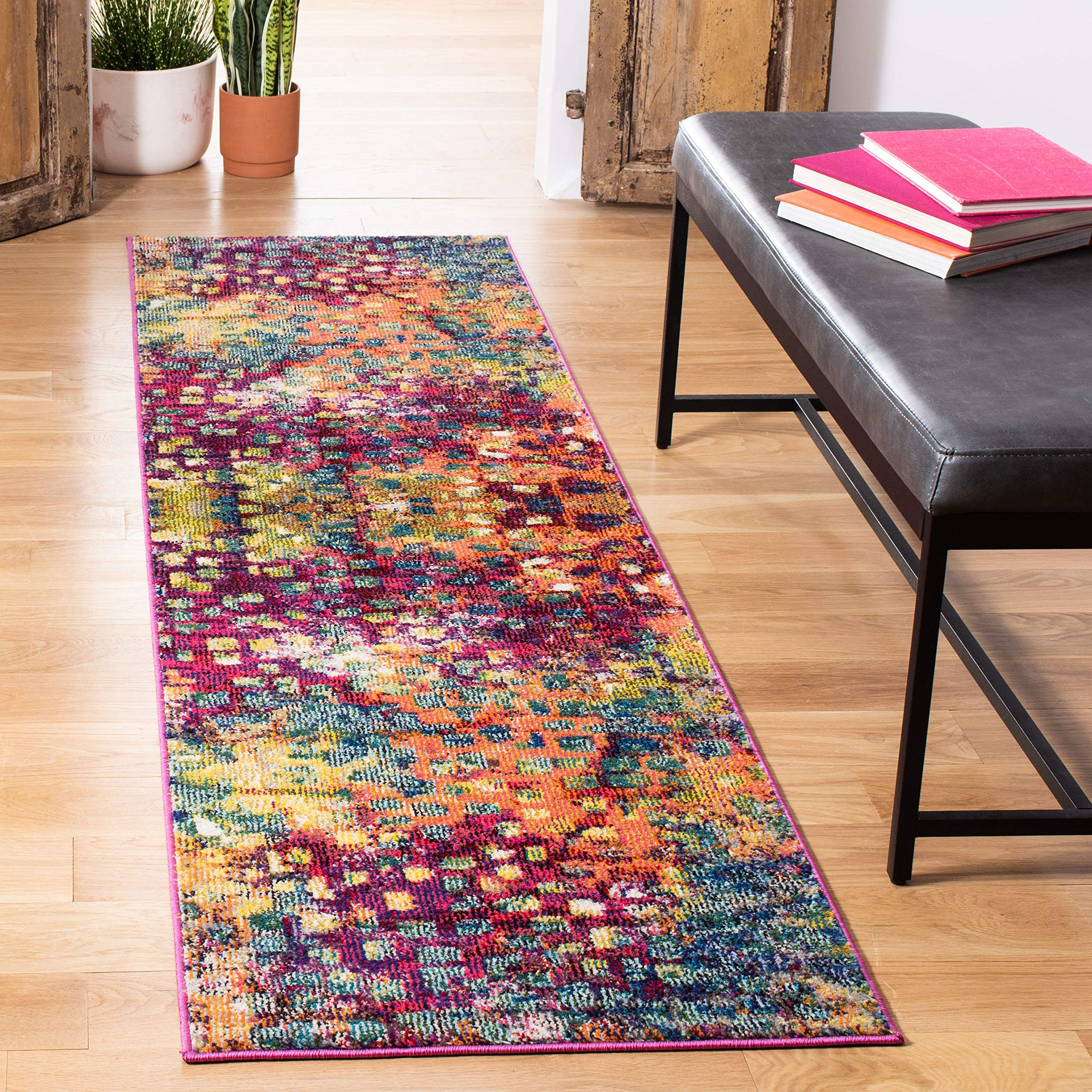 """Safavieh Monaco Collection MNC225D Modern Boho Abstract Watercolor Runner, 2' 2"""" x 6', Pink/Multi"""