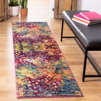 "Safavieh Monaco Collection MNC225D Modern Boho Abstract Watercolor Runner, 2' 3"" x 20', Pink/Multi"