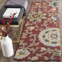 "Safavieh Blossom Collection BLM401C Handmade Floral Vines Red and Multi Premium Wool Runner (2'3"" x 6')"