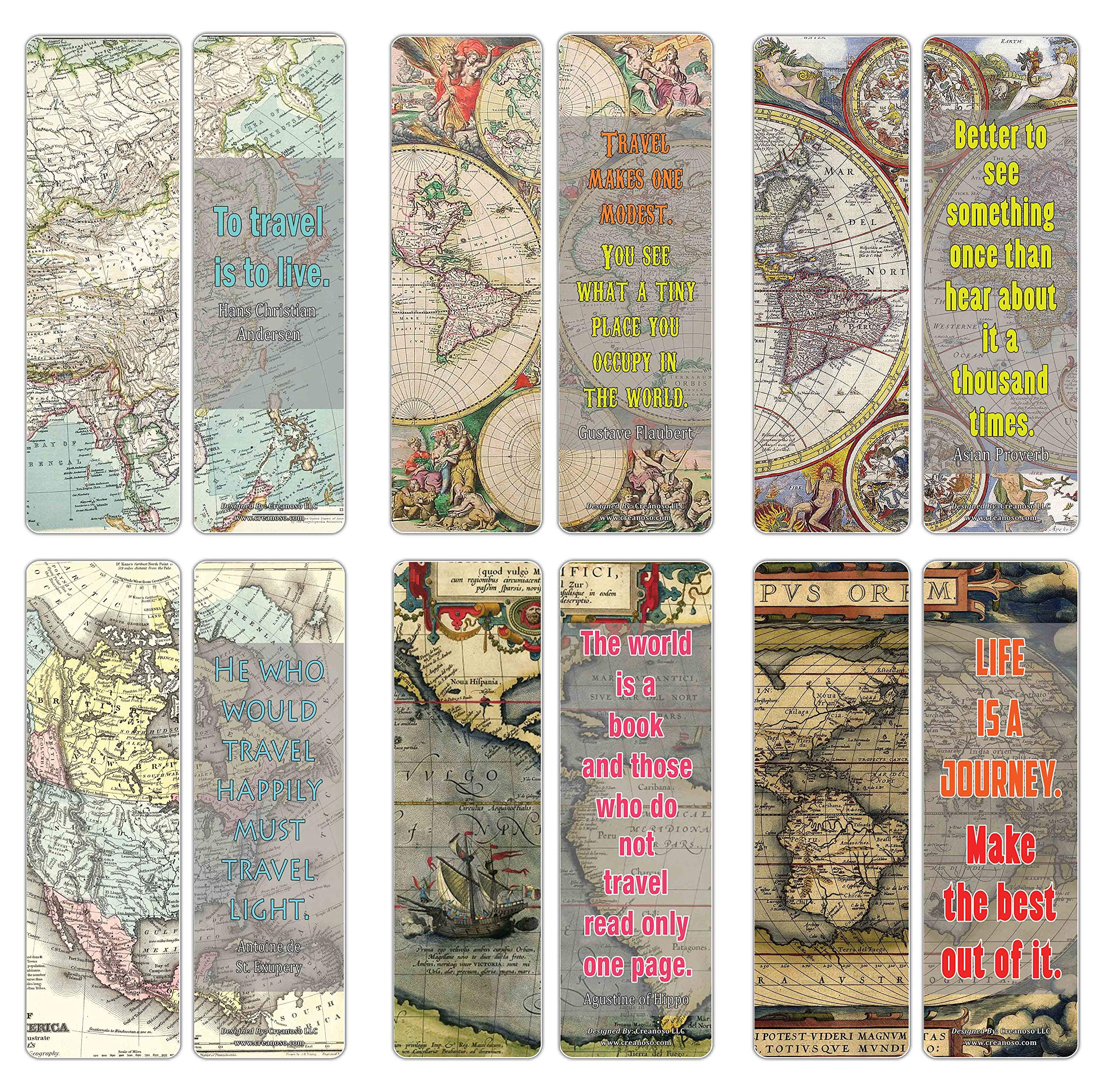 Creanoso Vintage Map Bookmarks Series 2 (30-Pack) – Stocking Stuffers Gift for Men, Women, Adult, Teens, Boys & Girls – Party Favors Supplies – Rewards Gifts