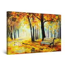 """Startonight Canvas Wall Art Bench in Park Yellow Painting, Framed 32"""" x 48"""""""