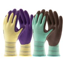 COOLJOB Gardening Gloves for Woman Men, Breathable Latex Coated Non-Slip Durable Working Gloves for Garden Yard Outdoor Work, Yellow & Green Extra Small (2 Pairs XS)