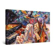 """Startonight Canvas Wall Art Abstract - Orange Jazz Orchestra Music Painting - Large Artwork Print for Living Room 32"""" x 48"""""""