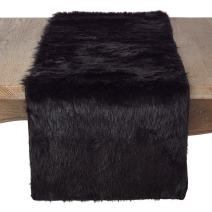 "SARO LIFESTYLE Juneau Collection Faux Fur Design Topper Table Runner, 15"" x 108"", Black"