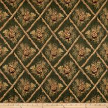 Regal Fabrics Lattice Pine Cone Jacquard Green