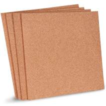 Juvale Natural Cork Tile Boards, Frameless Mini Wall Bulletin Boards (12 x 12 Inches, 4-Pack)