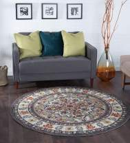 Tayse Celestina Multi-Color 6 Foot Round Area Rug for Living, Bedroom, or Dining Room - Boho, Oriental