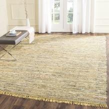 Safavieh Rag Rug Collection RAR121H Handmade Boho Stripe Cotton Area Rug, 9' x 12', Yellow / Multi
