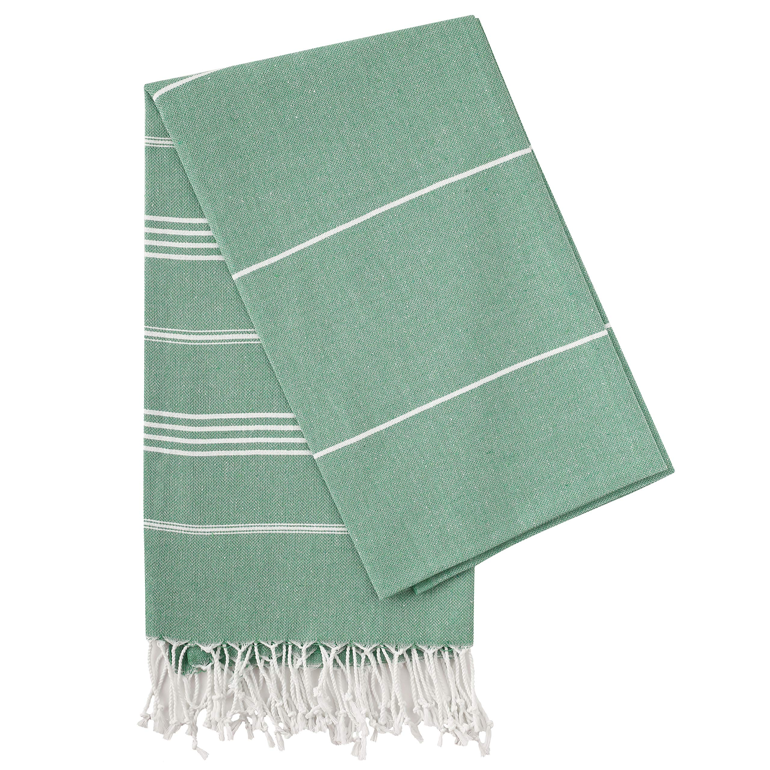 "Cacala Pure Series 37""x70"" Multi-Purpose Turkish Towel Made from Upcycled Cotton, Green"