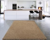 "Sweet Home Stores Cozy Shag Collection Solid Shag Rug Contemporary Living & Bedroom Soft Shaggy Area Rug, 60"" L x 84"" W, Beige"