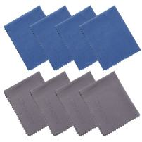 Wisdompro 8-Pack Microfiber Cleaning Cloth for Camera Lens, Glass, Lenses, Phone, iPhone, iPad, Tablet, Laptop, LCD TV, Computer Screen, Monitor and Other Delicate Surface(4 Blue, 4 Grey 6x7 Inch)