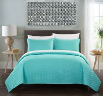 Chic Home Amandla 5 Piece Quilt Cover Set Rose Star Geometric Quilted Bed in a Bag - Sheet Set Decorative Pillow Sham Included, Twin XL Aqua