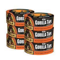 "Gorilla Black Duct Tape, 1.88"" x 12 yd, Black, (Pack of 6)"