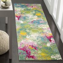 """Safavieh Watercolor Collection Green and Fuchsia Runner, 2'2"""" x 6'"""