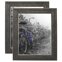 """Americanflat Picture Frame in Rustic with Lead Free Polished Glass - Horizontal and Vertical Formats for Wall and Tabletop - 8"""" x 10"""" - Pack of 2"""