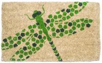 "Entryways Dragonfly , Hand-Stenciled, All-Natural Coconut Fiber Coir Doormat 18"" X 30"" x .75"""