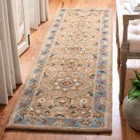 """Safavieh Classic Collection CL387A Handmade Traditional Oriental Beige and Light Blue Wool Runner (2'3"""" x 12')"""