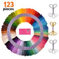 Premium 123 Embroidery Floss and Sewing Kit - Friendship Bracelet String Kit Featuring Deluxe Gold and Silver Floss, DMC Color Card, Cross Stitch Tools – Ideal Bracelet Making Kit Gift
