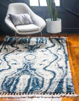 Unique Loom Hygge Shag Collection Abstract Plush Cozy Blue Area Rug (4' 0 x 6' 0)