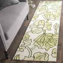 """Safavieh Dip Dye Collection DDY683B Handmade Modern Floral Watercolor Ivory and Light Green Wool Runner (2'3"""" x 8')"""