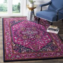 Safavieh Bellagio Collection BLG541C Pink and Navy Bohemian Medallion Premium Wool Area Rug (3' x 5')